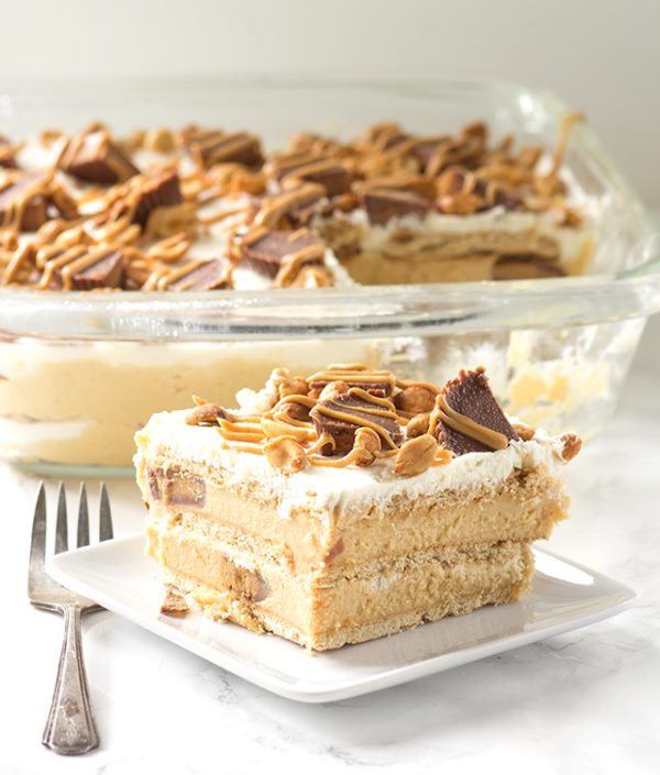 Peanut Butter Ice Box Cake from Cookie Dough and Oven Mitt