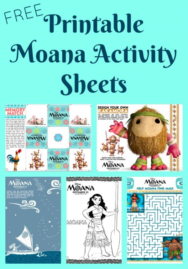 Free Printable Moana Activity Sheets