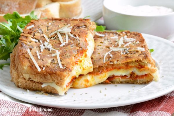 Parmesan Crusted Pepperoni Pizza Grilled Cheese from Meatloaf and Melodrama