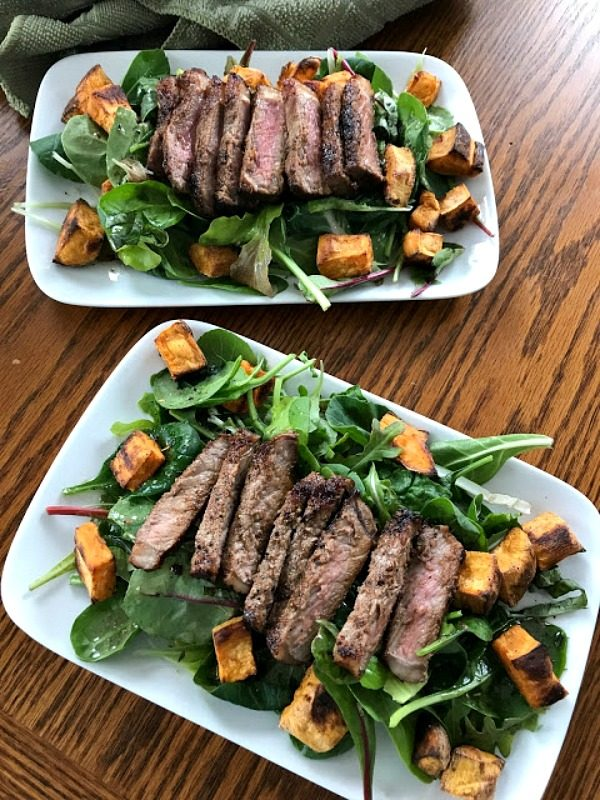 Warm Steak and Sweet Potato Salad from Our Good Life