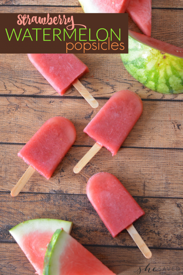 Strawberry Watermelon Popsicles from She Saved