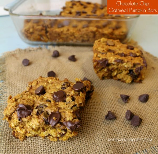 Chocolate Chip Oatmeal Pumpkin Bars from My Heavenly Recipes