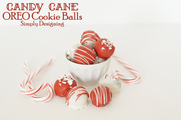 Candy Cane Oreo Cookie Balls from Simply Designing