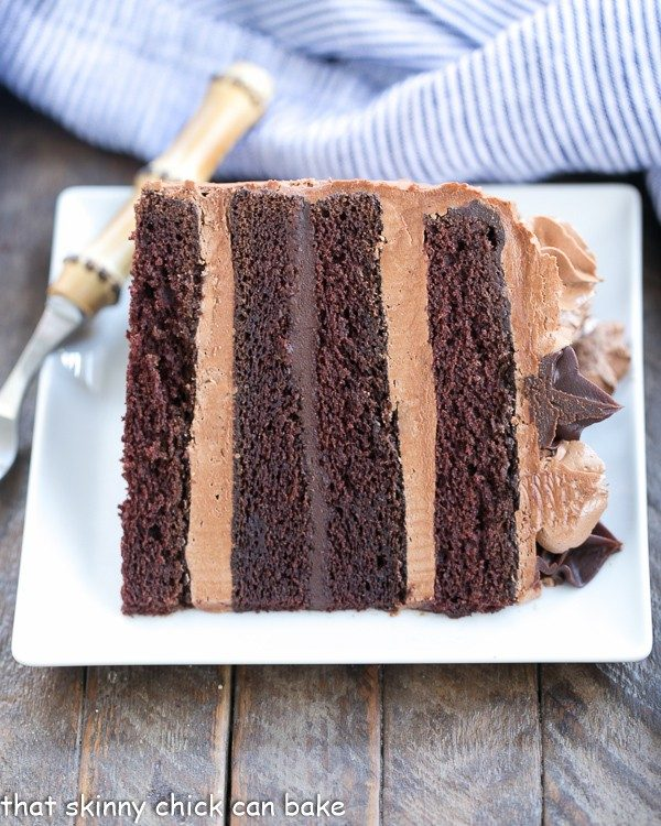 Chocolate Fudge Layer Cake from That Skinny Chick Can Bake