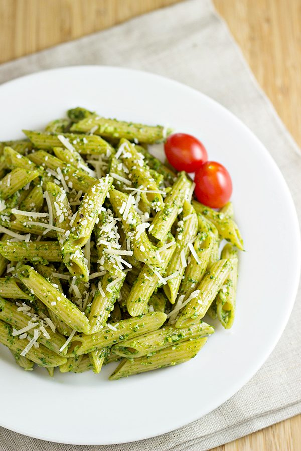 Pasta with Spinach Basil Pesto Recipe from Home Cooking Memories