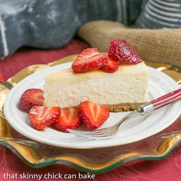 Mascarpone Cheesecake with Balsamic Strawberries from That Skinny Chick Can Bake