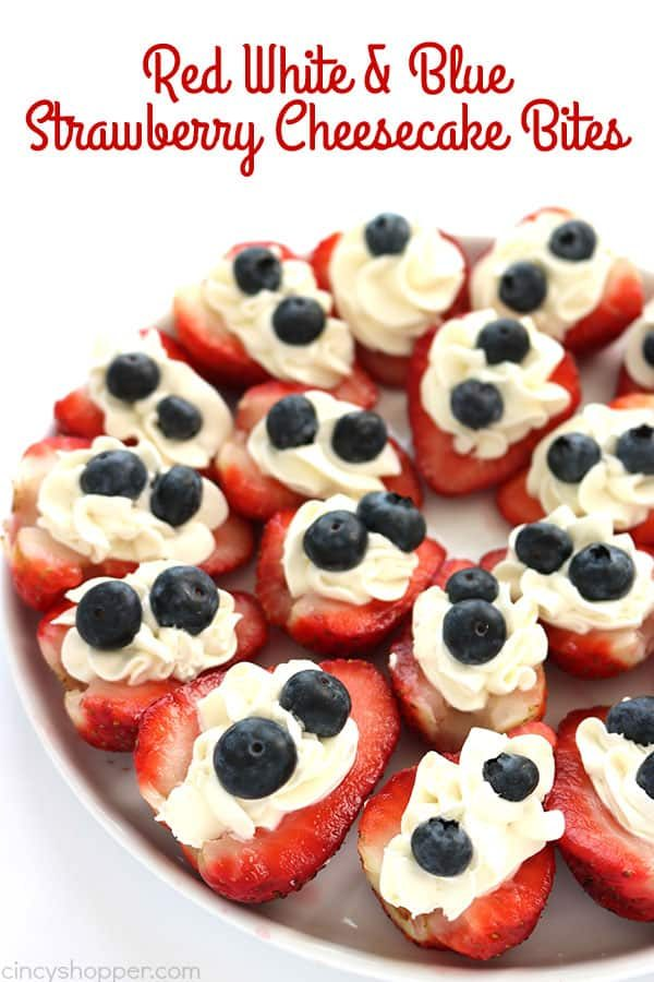 Red White and Blue Strawberry Cheesecake Bites from Cincy Shopper