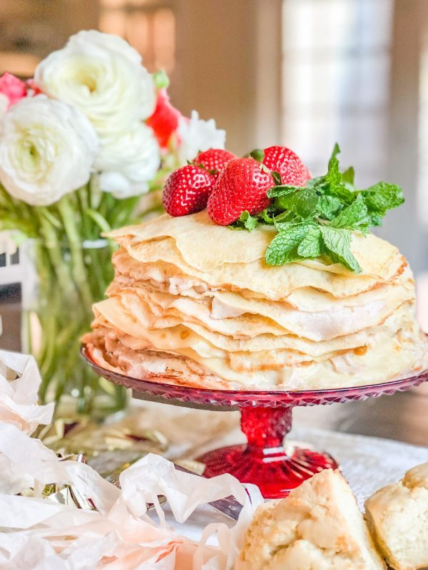 Roasted Strawberry Crepe Cake from The Kittchen